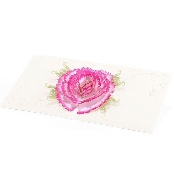 Color Printing Carnation Flowers 3D Up Greeting Card Envelope Postcard Hollow Carved Handmade Card Gift