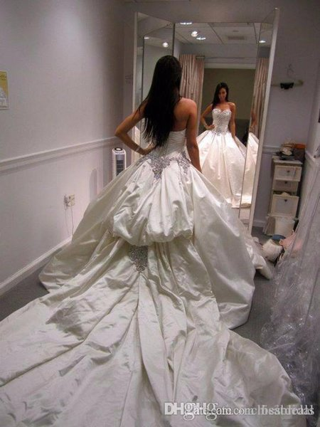 Long White Satin Ball Gown Wedding Dress with Silver Crystals Sweetheart Princess Pleated Chest Wedding Gown with Bustle Train