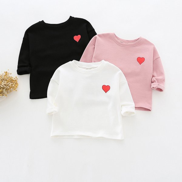 2019 1-4Y Baby T Shirts Kids Baby Girls Boys Cotton Heart Pattern Tops Children's Clothing for Kids Tees White Black Pink Color