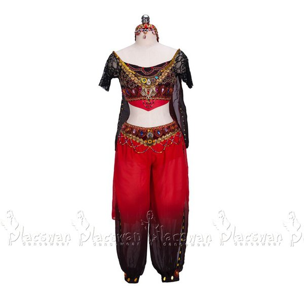 La Bayadere Nikiya Variation Temple Dancer Nutcracker Arabian Dance BT726 Oriental Ballet Costume Red Fading Chiffon Wide Pants