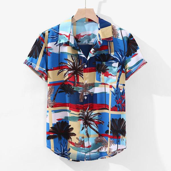 2019 Kleidung der Männer der Männer Kontrast Farbe Geometrische Printed drehen unten Kragen-Kurzschluss-Hülsen-lose Shirts Hauts schütten hommes Plus Size