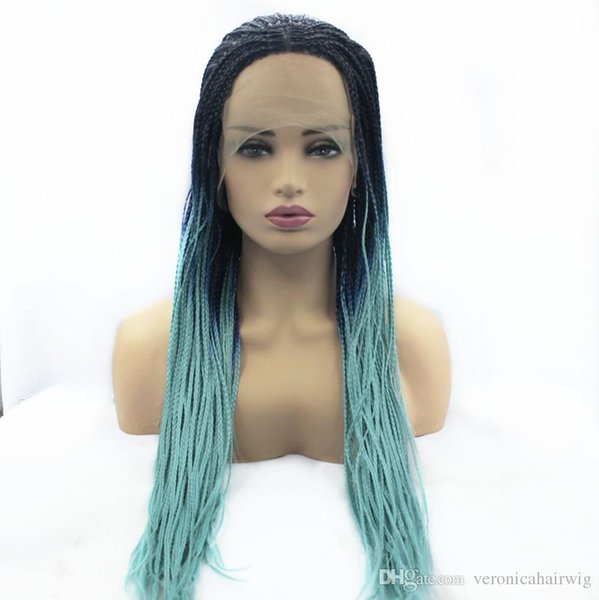 New Style Blue Green Ombre Braided Box Braids Wig Long Synthetic Lace Front Wigs For Women 26 Inch Lady's Wig 3 Tones Color