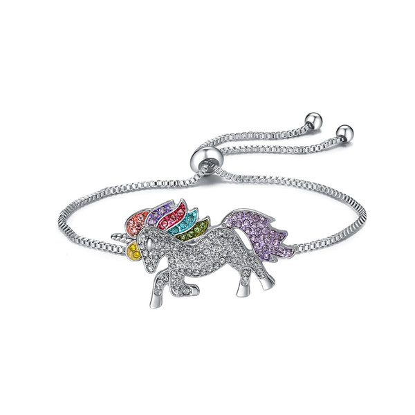 Unicorn Adjustable Chains Charm Bracelets for Children Colorful Pony Silver Gold Plated Diamond Crystal Bracelet Wristbands for Kids