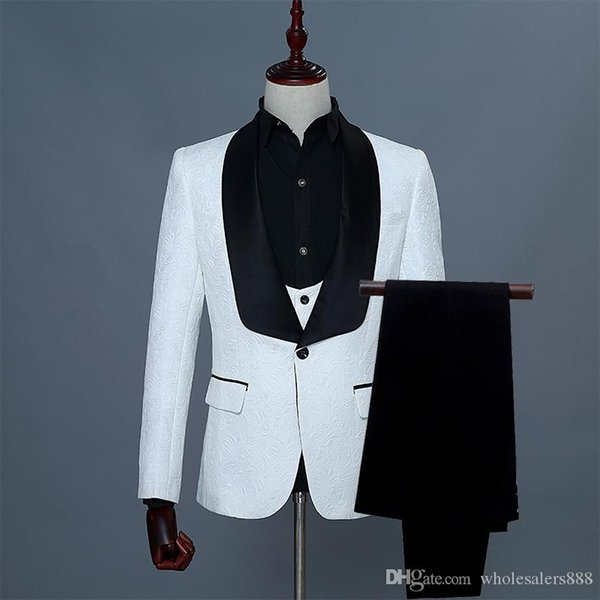 Groomsmen White/Red/Pink Pattern Groom Tuxedos Shawl Black Satin Lapel Men Suits Wedding Best Man Bridegroom (Jacket+Pants+Vest+Tie) L27