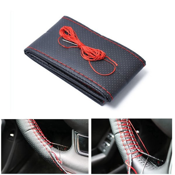 Fibra ultrafina cuero cosido a mano cubierta del volante del coche de bricolaje cubiertas del volante