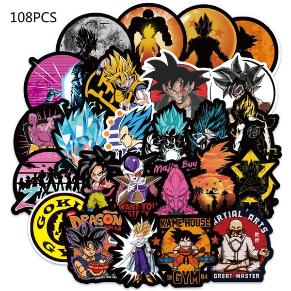 108 Adet / takım Anime Dragon Ball Etiketler Süper Saiyan Goku Snowboard Bagaj Araba Buzdolabı Laptop Için Çıkartmalar Çıkartma Serin PVC Sticker B001