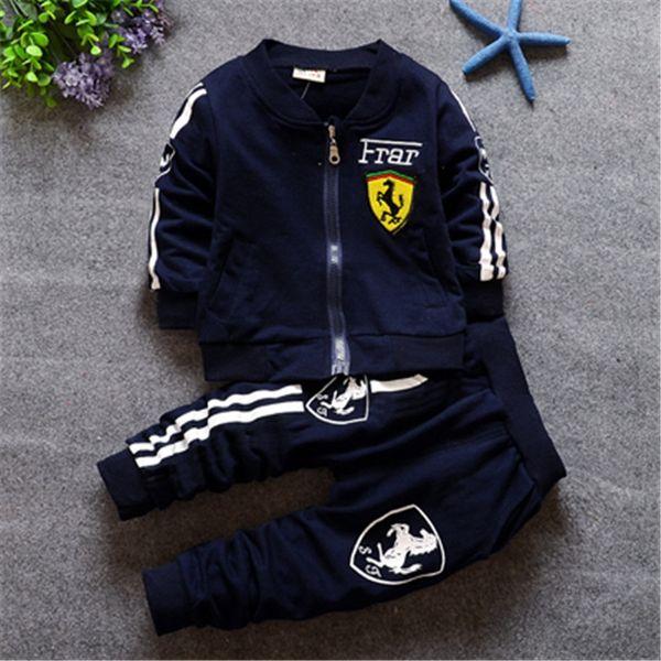 Малыш Baby Boy комплект одежды принт ferrari мода весна письмо с длинным рукавом футболка + брюки костюм гонщик костюм для chlid