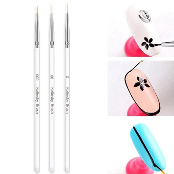3Pcs Transparent Nail Art Gel Liner Dual-ended Drawing Brush Pen Manicure Tool HOT