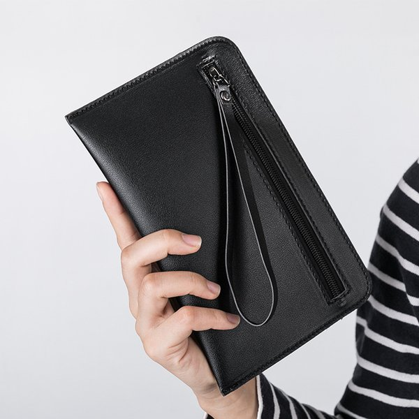 Casual Women's Slim Wallets Leather Simple Leather Hand Grasping Coin Purse Mini Small Handbag Mobile Phone Packet Portemonnee
