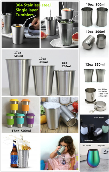 top popular 304 Stainless steel tumbler single wall mug wine beer coffee water glass egg shaped cup collapsible portable full-range sizes 20oz to 2oz 2021