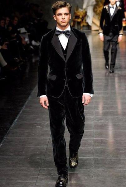 Classic Designe Black Velvet Groom Tuxedos Autumn Winter Style Groomsmen Men Wedding Dress Man Jacket Blazer Suit(Jacket+Pants+Vest+Tie)1116