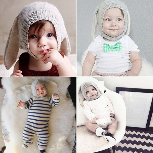 infant Children's Infant Toddler Kids Rabbit Ears Knitted Hat Winter Warm Cap for Girl Boy Accessories Baby Photography Props