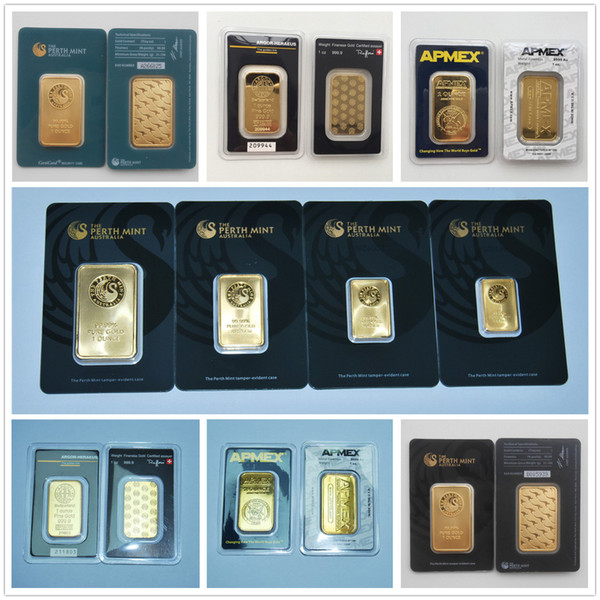 best selling 1 Oz Perth Mint Argor Hereaus RCM Gold Bar Plated 24k Gold Gold Bullion Birthday Holiday Gifts Home Decorations Crafts Replica