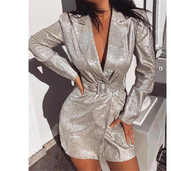 Solid Color Sexy Noite Clubwear Blazers Brasão com Caixilhos cintilante Magro casacos longos mulheres 2020 Nova Primavera entalhado manga comprida