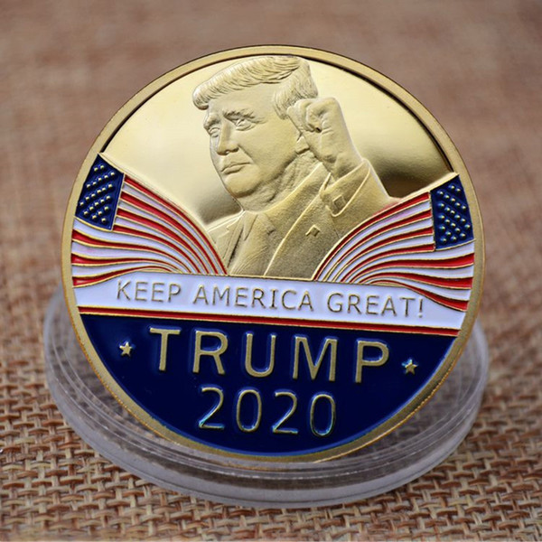 Gold-plated Trump Metal Craft Coin Badge 3D American President Donald Currency Commemorative Coin Collection Coin Gifts WX9-1443