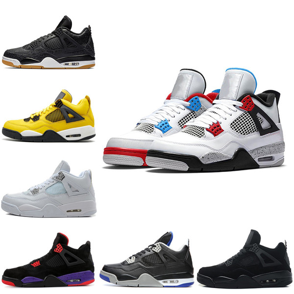 Discount What The Bred 4s Männer Basketball Schuhe 4 FIBA ​​Silt Red Tattoo Raptors LASER Schwarz Gum Herren Trainer Athletic Sports Sneakers 7-13