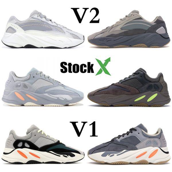 Wave Runner 700 Kanye West Teal Aimant bleu Chaussures solide gris desiger hôpital Blue Inertie V2 statique Utility Noir Hommes Femmes Courir Sneaker