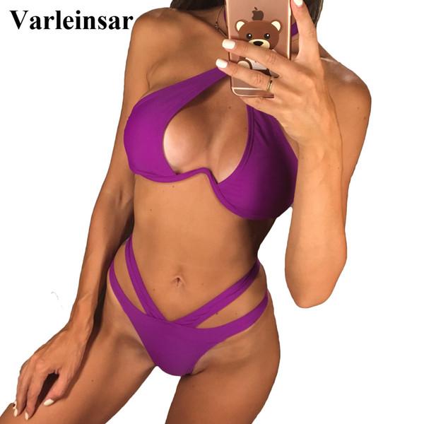 Sexy V-bar Underwired Bikini 2019 Female Swimsuit Women Swimwear V shape Wire Bikini set With Bra Bather Bathing Suit Swim V810