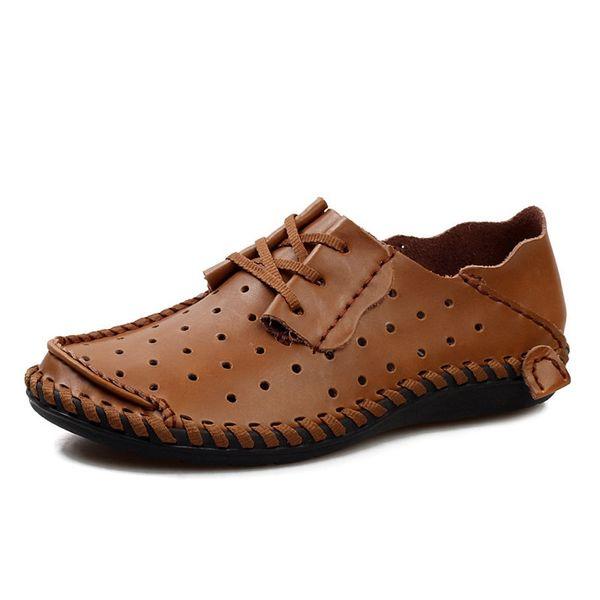 YD-EVER Scarpe Estive In Pelle 2017 Marca Scarpe Traspiranti Mesh Air Flats Per Uomo Uomo Mocassini Casual Primavera Zapatos Hombre # 56107