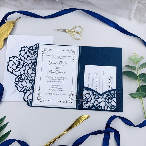 Elegant Navy Tri Fold Laser Cut Wedding Invite Laser Pocket With Tag Belly Band And Rsvp Card Diy Invite Kit Rustic Wedding Invitations Wedding