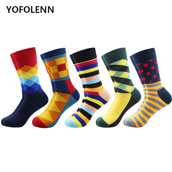 5 Pairs/Lot Happy Socks for Man Combed Cotton Material Striped Argyle Dot Diamond Pattern Colored Funny Socks Long Crew Cool