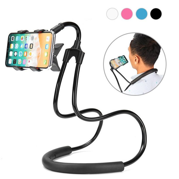Univer al 360 degree hand  cell phone mount   tand  degree hanging neck bracket creative bed ide lazy mobile phone bracket phone holder