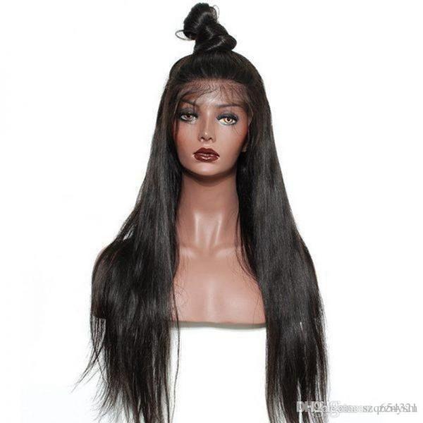 Remy Hair Indian Lace Front Perruques de cheveux humains pour femmes cheveux perruque droite avec Hairline naturel Full End + perruque net