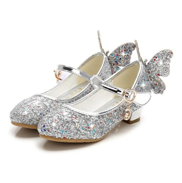 New Girls Princess Shoes Children High Heels Bow Sandals Glitter Model Dance Dress Weddings Kids Fashion Sequins Leather Party