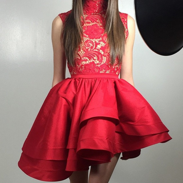 High Neck Red 2019 Lace Homecoming Dress Summer High Low Satin Ruffles Juniors Cocktail Party Dress Plus Size Short Mini Prom Gowns