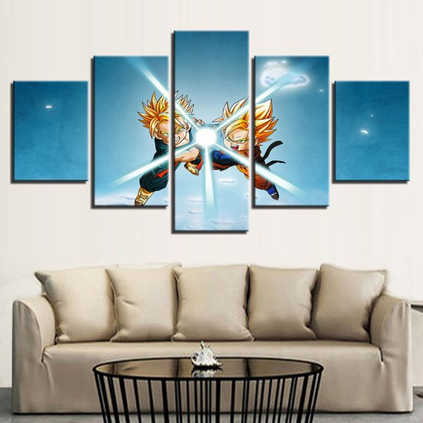 Painting Wall Art Poster 5 Panel Animation Dragon Ball Abstract Framework Canvas Modular Pictures For Living Room Home Decor
