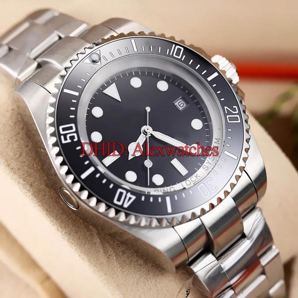 43mm Mens Watches Diver Swim Black Ceramic Bezel reloj de lujo Mechanical Automatic Wristwatches Men Luxury Watch Glide Lock Clasp Strap