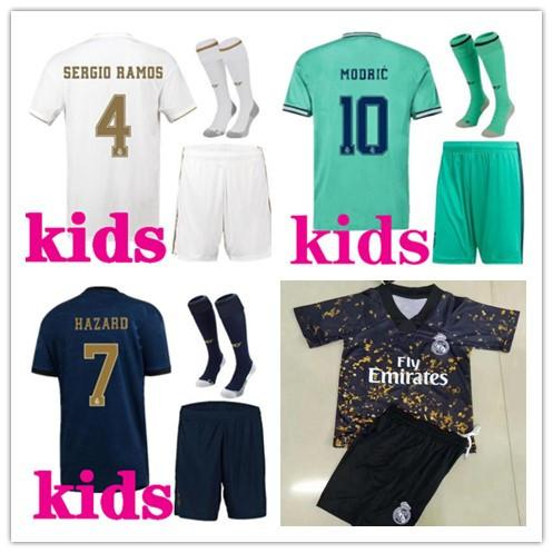 top popular kids 2019 2020 football kits Real Madrid soccer jersey 19 20 camiseta de futbol HAZARD BENZEMA ISCO MODRIC Kids footbal kits 2020