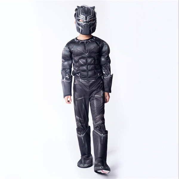 Black Panther Avengers Infinite War Children Cosplay Costume Performing Tight Muscle Clothes Halloween Cosplay Anime Costume