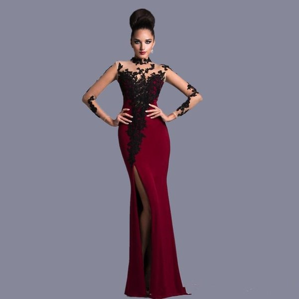 2019 New Straight High Neck Elegant Burgundy and Black With Long Sleeves Lace Formal Gowns Evening Dresses vestidos de novia
