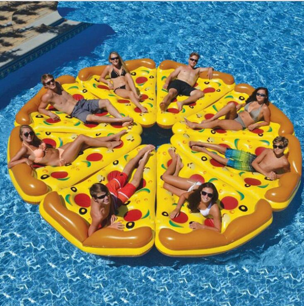 best selling Wholesale Inflatable Pool Pizza Float Water Mat Raft Lounge Seat Pizza Tubes Toys Outdoor Sports Pizza Water Float Swimming Tubes