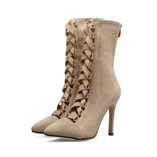 Sivri Burun Stiletto Topuklu Kadın Bahar Seksi Ayak Bileği Çizmeler Çapraz Bağlı Kurdela Cut-çıkışları Ayakkabı Chic Süper Yüksek Topuk Fermuar Çizmeler Artı Boyutu 43