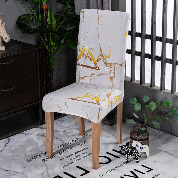 Marble white wedding chair covers for dining room office banquet chair slipcovers elastic material