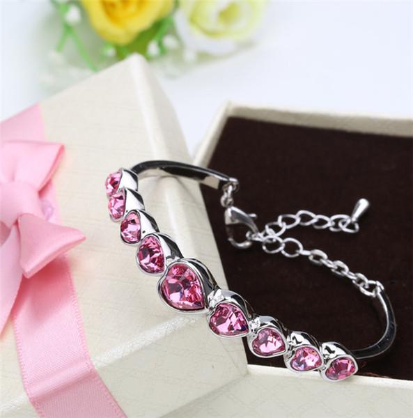 Bracelet en cristal de mode amour version coréenne d'accessoires femmes diamant d'eau amour cadeaux d'anniversaire cadeaux boudoihoney en gros