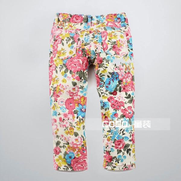 2-8 ans girs pour enfants pantalon en jean à fleurs roses jeans imprimés Jeans Petits pantalons pieds Livraison gratuite