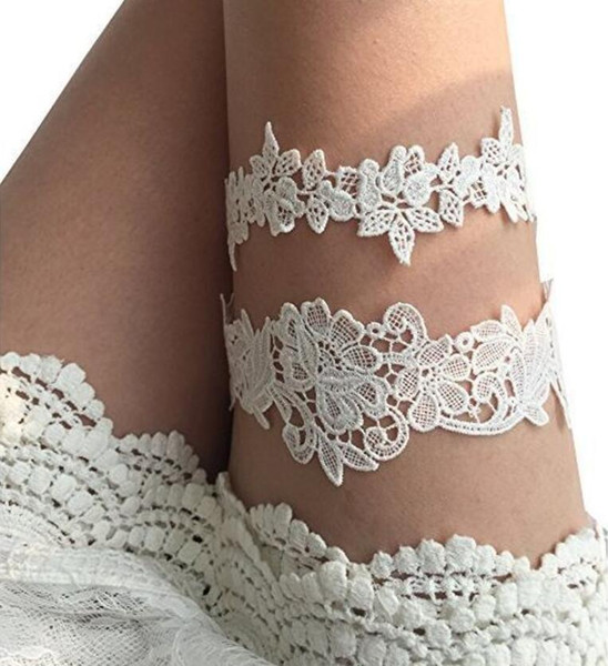 White 2 Pieces set Bridal Leg Lace Garters Prom Formal Garter Bridal Wedding Garter Belt Lace Light Blue Wedding Accessories In Stock