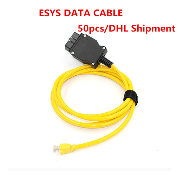 2019 50pcs ESYS Data Cable OBD Ethernet Code For B-MW ICOM A2 Interfac OBD2 For B-MW ESI Enet Cable E-SYS ICOM Diagnostic Tools DHL Shipment