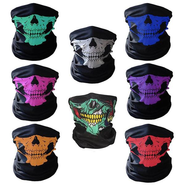 Skull Half Face Mask Multifunctional Seamless Magic Headscarf Halloween Props Teeth Warmth Headscarf Mask Ghost Scarf Neck Hiking 223