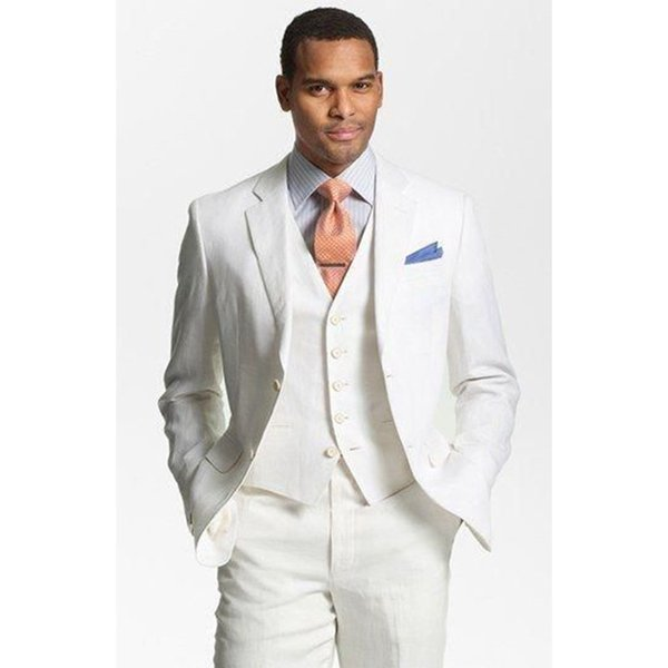 Custom Made Ivory Linen Suits Mens Formal Skinny Summer Beach Simple Wedding Tuxedo 3 Piece Men Suit (jacket+pants+vest) C19041601