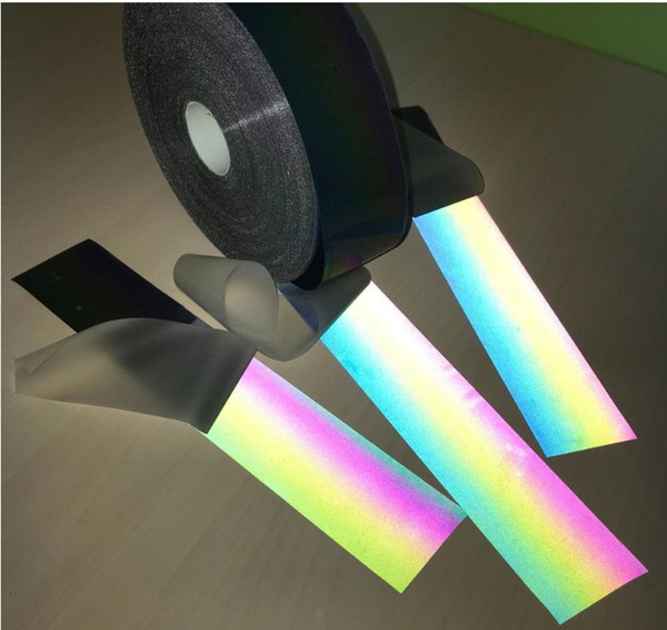 best selling Self-adhesive PES 100M Roll Reflective Belt Iridescence Colorful Strip Night Reflective Rainbow Effect Warning Tape Hot Ironed On Clothing