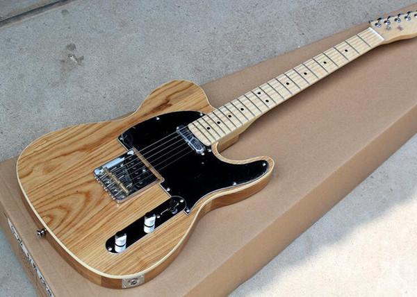 istek olarak özelleştirilmiş siyah Pickguard, krom donanım, teklifle mükemmel Fabrikası özel Doğal ahşap KÜL vücut Elektro Gitar