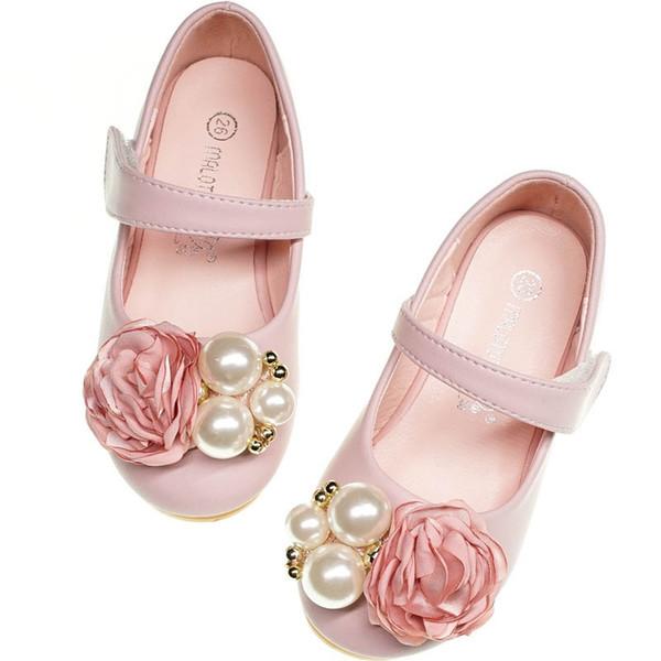 Fashion 3D floral girl princess shoes pearl kids shoes girls shoes Kids Dress Shoe Girls Footwear chaussures enfants girl wedding shoe A5060