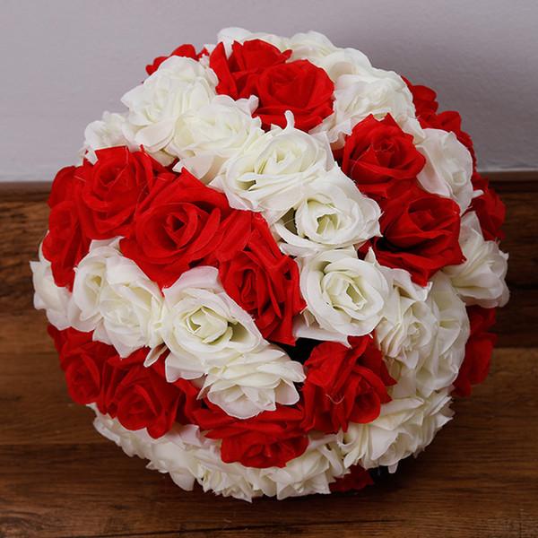 1pcs 12inch (30cm) Soie Rose Fleur décorative Boule pour Décoration Party Supplies fête Faveurs de mariage