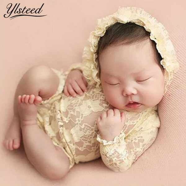 Long Sleeve Lace Hat Set Photography Props Infant Photoshoot Outfits V Back Baby Girl Romper Newborn Picture Q190521