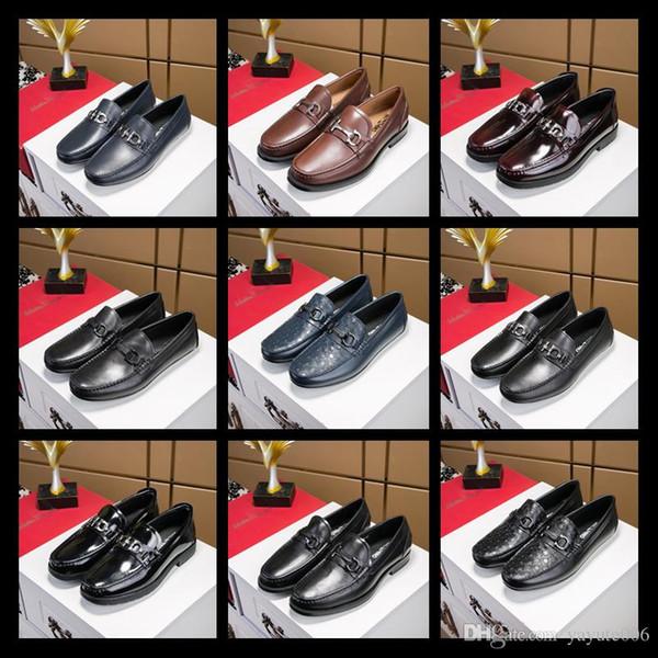 Top Brand Loafers Luxus Party Hochzeit Schuhe Designer SCHWARZ PATENT LEDER Wildleder mit Quasten Spikes Verzierte Kleidungsschuhe für Herren