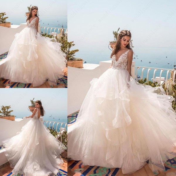 2019 robes de mariage de plage de cou v une ligne jupe à plusieurs niveaux sexy dos ouvert en dentelle de mariage robes de mariée robes de mariée de maternité robe De Novia